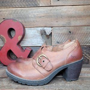 BOC Rugged Brown Leather Slip On Full Zip Booties